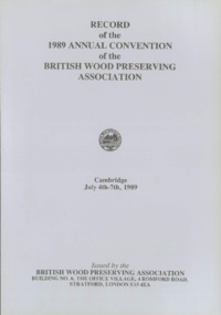 Record of the 1989 Annual Convention of the British Wood Preserving Association : Page 1