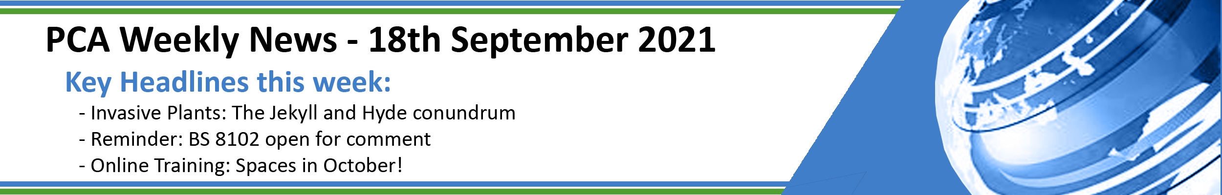PCA Weekly News - 18th September 2021